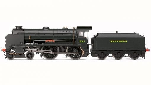 """Hornby R3458 Class V Schools 4-4-0 921 """"Shrewsbury"""" in Southern black with Bulleid lettering"""