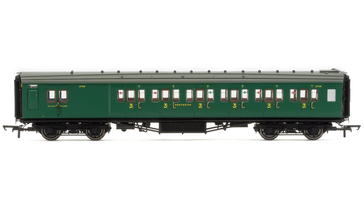 Hornby R4737 Maunsell corridor six compartment brake third 3798 in SR malachite green