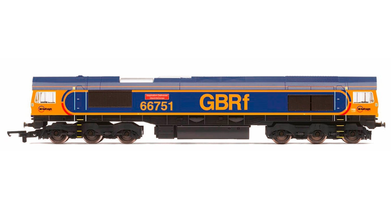 """Hornby R3573 Class 66/7 66751 """"Inspiration Delivered - Hitachi Rail Europe"""" in GB Railfreight livery"""