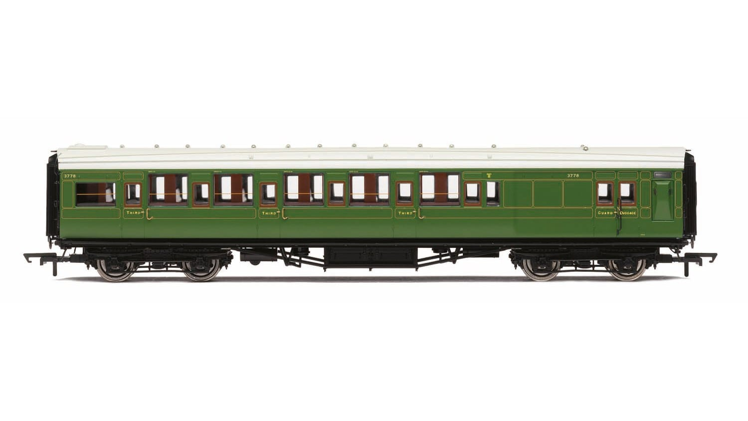 Hornby R4768A Maunsell corridor brake third 3779 in SR olive green