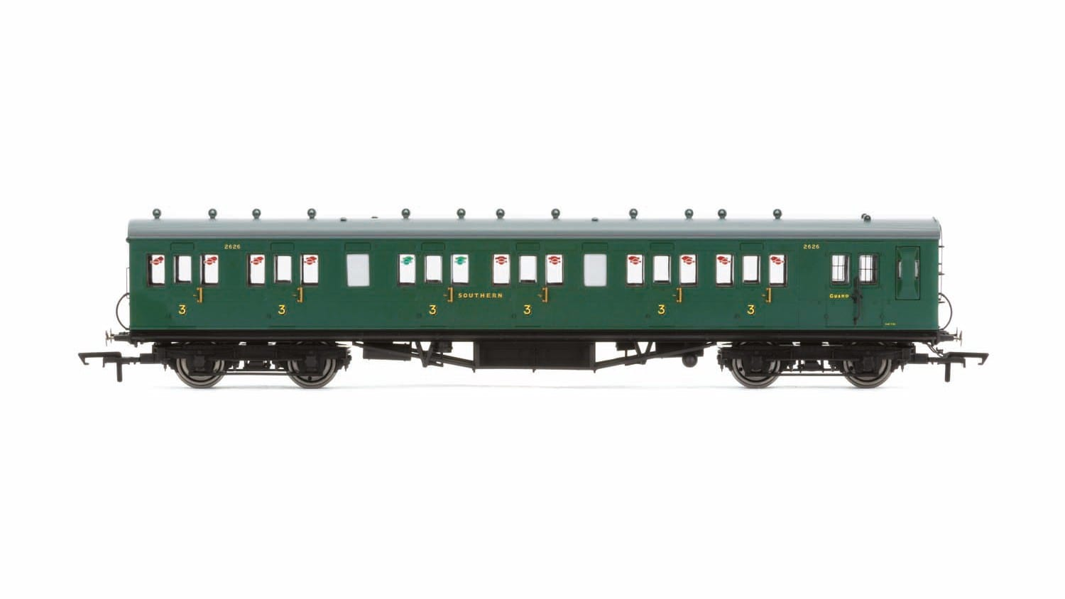 Hornby R4793 58' Maunsell Rebuilt (Ex-LSWR 48') six compartment brake third 2628 in SR malachite green