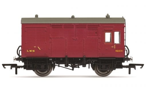 Hornby R6799 LMS Horse Box in LMS Maroon